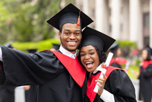 Happy African American Couple Students Taking Selfie, Closeup