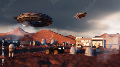 Photo 3d render. Colony of humans on a planet