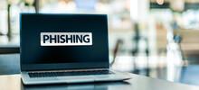 Laptop Computer Displaying The Sign Of Phishing