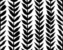Vertical Olive Leaves Borders, Hand Drawn Vector Seamless Pattern. Black Brush Leaves And Twigs. Olive Branch Modern Organic Ornament. Black Ink Texture With Foliage. Abstract Plant Motif