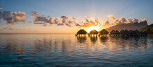 Beautiful Sunset Panorama At A Luxury Beach Resort In The South Seas