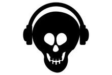 Black Skull With Earphones On White Background.