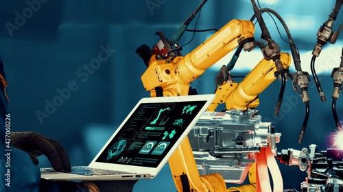 Photo Smart industry robot arms modernization for innovative factory technology