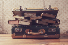 Vintage Suitcase Full Of Old Books