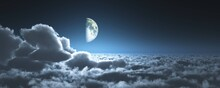 Cloudy Landscape At Night Under The Moon, The Moon Above The Clouds, Panorama Of The Clouds, Banner, View, 3d Rendering