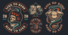Set Of Color Biker Patches On A Dark Background. These Vector Illustrations Are Perfect For Apparel Designs, Logos, And Many Other Uses.