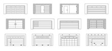 Garage Door Vector Outline Set Icon.Vector Illustration Roller Gate On White Background . Isolated Outline Set Icon Garage Door.
