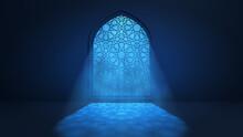 Moon Light Shine Through The Window Into Islamic Mosque Interior. Ramadan Kareem Islamic Background. 3d Render Illustration