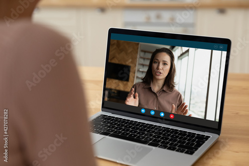 Canvas Webcam portrait of young female applicant talk answer employer question on distant job interview