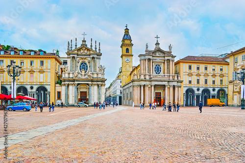Foto The twin churches (San Cristina and San Carlo) of Turin, Italy