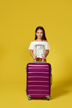 Happy Little Child Girl In Hat With Pink Suitcase