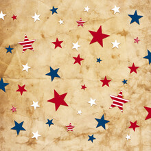 Red White And Blue Stars And Stripes On Old Vintage Paper Background, July 4th Or Memorial Day Background, Veteran's Day Background In Patriotic Colors Of The United States Of America