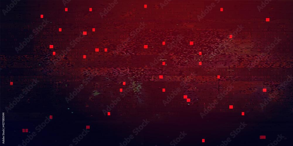 Fototapeta Abstract Technology Binary Code Dark Red Background