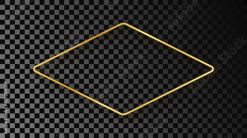 Obraz Gold glowing rounded rhombus shape frame with shadow - fototapety do salonu