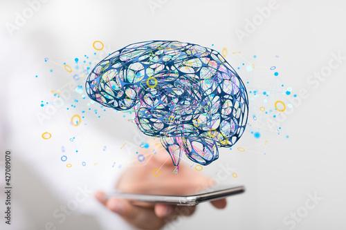 intelligence brain ai digtal 3d artificial intelligence Fotobehang