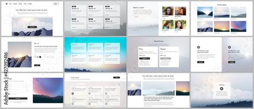 Fotografie, Obraz Vector templates for website design, presentations, portfolio, presentation slides, brochure cover, report