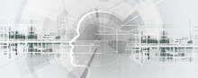 Abstract Artificial Intelligence. Cloud Computing. Machine Learning. Technology Web Background. Virtual Concept