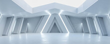 Modern Futuristic White Technology Design Concrete Hall 3d Render Illustration