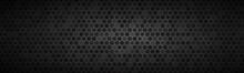 Dark Widesrceen Header With Wheels With Different Transparencies. Modern Black Geometric Design Banner. Simple Vector Illustration Background
