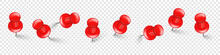 Realistic Red Push Pins. Board Tacks Isolated On Transparent Background. Plastic Pushpin With Needle. Vector Illustration.