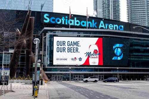 Fototapeta premium Toronto, Canada- April 10, 2021: Scotiabank Arena in Toronto. The Scotiabank Arena, former Air Canada Centre, is a multi-purpose indoor sporting arena in Toronto.