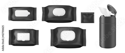 Foto Realistic cosmetic wet wipe pack mockup set with open and closed flap from top a