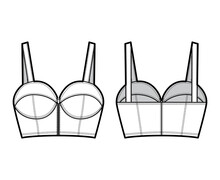 Denim Bustier Top Technical Fashion Illustration With Thin Straps, Zip-up Closure, Cups, Slim Fit, Crop Length. Flat Bra Template Front, Back, White Color Style. Women, Men, Unisex CAD Mockup
