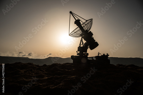 Fotografie, Tablou Space radar antenna on sunset
