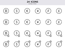 Dollar, Euro, Bitcoin, Pound, Franc, Yen Line Icons. Set Of Currency Exchange Line Icons. Growth And Fall Of Foreign Currency. Outline Money Signs For Finance. Editable Stroke. Vector Illustration