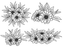 Flower Line Art Arrangements. You Can Use This Beautiful File To Print On Greeting Card, Frame, Mugs, Shopping Bags, Wall Art, Telephone Boxes, Wedding Invitation, Stickers, Decorations, And T-shirts.