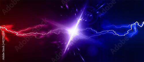 Fotografía Lightning collision red and blue background, versus banner
