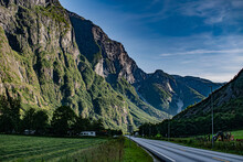 Viking Valley Between The Mountains In Norway With E16 Panoramatic Road During Sunny Day