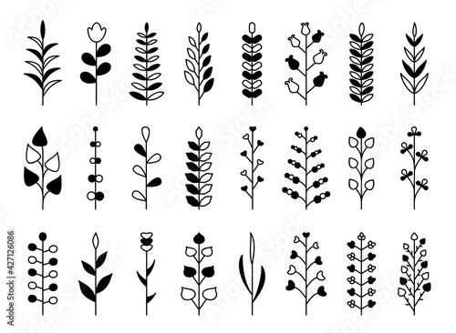 Canvas Print Branch black glyph set