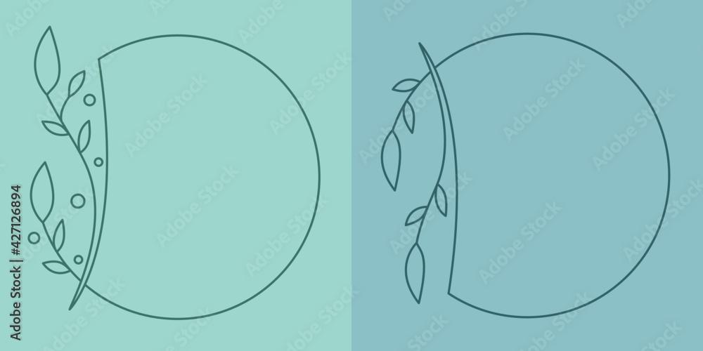 Fototapeta Szablony ramek z wzorem roślinnym w prostym nowoczesnym stylu z listkami - zaproszenia ślubne, tło dla social media stories.