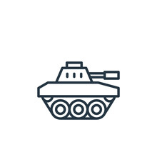 Tank Icon. Thin Linear Tank Outline Icon Isolated On White Background. Line Vector Tank Sign, Symbol For Web And Mobile.
