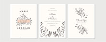 Wedding Invitation, Floral Invite Thank You, Rsvp Modern Card Design In Golden Rose Leaf Greenery Branches Decorative Vector Elegant Rustic Template
