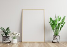 Mock Up Photo Frame In The Room, White Wall On The Wooden Floor, Beautiful Pattern, Decorated With Plants On The Side.3d Rendering.