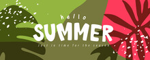 Colorful Summer Background Layout Banners Design. Horizontal Poster, Greeting Card, Header For Website