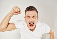 Aggressive Man Gestures With His Hands Nervousness Madness Model