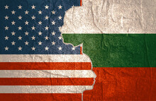 Relationships Between USA And Bulgaria. Stone Material Grunge Texture