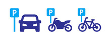 Public Parking Vector Icon For Car, Motorbike And Bicycle Illustration