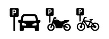 Public Parking Vector Icon For Car, Motorbike And Bicycle Sign Symbol Illustration.