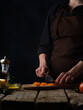 Chef Cuts Dried Apricots Salad Background Ingredients Culinary Recipes Illustrating Food Process