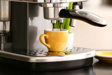 Modern Coffee Machine With Cup Of Hot Espresso In Cafe