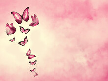 Color Sky With Clouds And Butterflies As Background