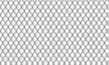 Сhain Link Fence. Black Wire Mesh. Prison Barrier, Secured Property Construction