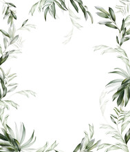 Design Of Greeting Card, Wedding Invitation With Green Leaves And Branches In Modern Style