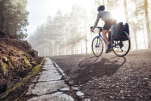 Cyclist On A Bicycle With Panniers Riding Along A Foggy Forest Road