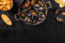 Mussels With A Place For Text, Shot From Above On A Black Background