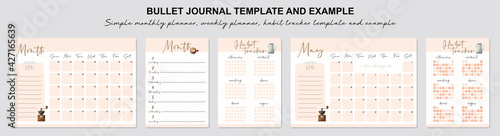 Obraz Simple monthly planner, weekly planner, habit tracker template and example.  Template for agenda, schedule, planners, checklists, bullet journal, notebook and other stationery. - fototapety do salonu
